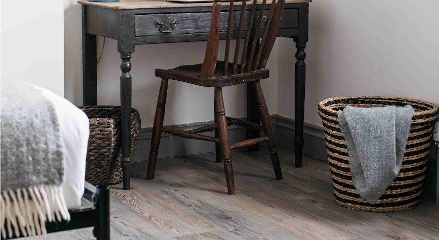 hickory mseries wooden flooring in rustic bedroom