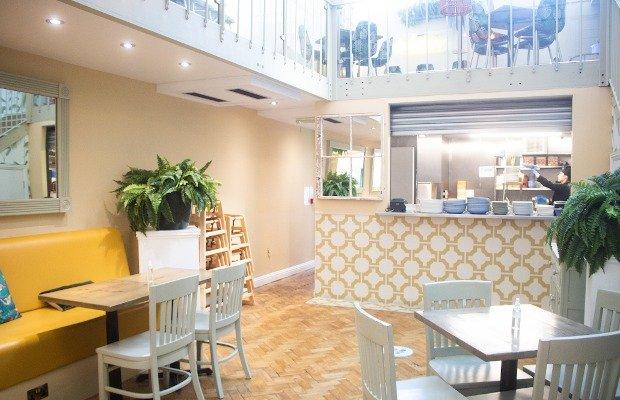 yellow patterned tiles in modern restaurant