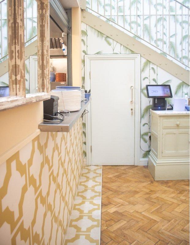yellow vinyl tiles in bright kitchen