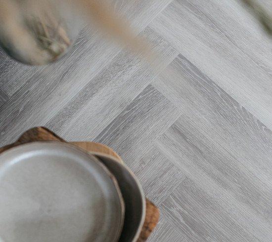 Grey Herringbone Vinyl Floor Planks