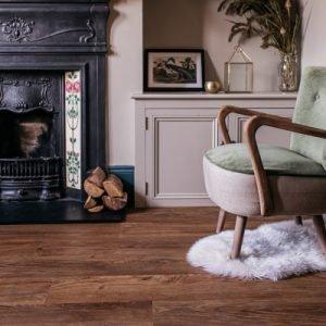 English Oak vinyl floor planks in a living room