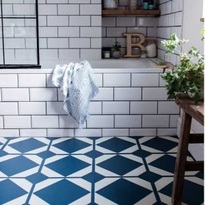 blue decorative bathroom floor tiles
