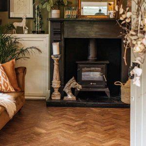 parquet vinyl floor in country living room