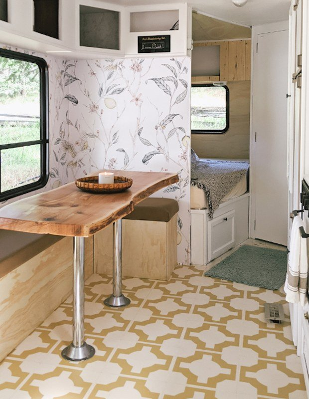 trailer enovation with kitchen floor tiles in yellow