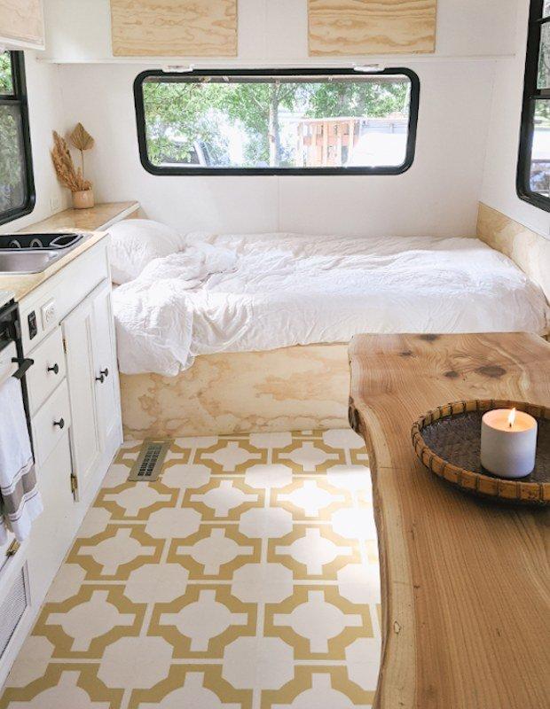 parquet mimosa tiles in boho trailer bedroom