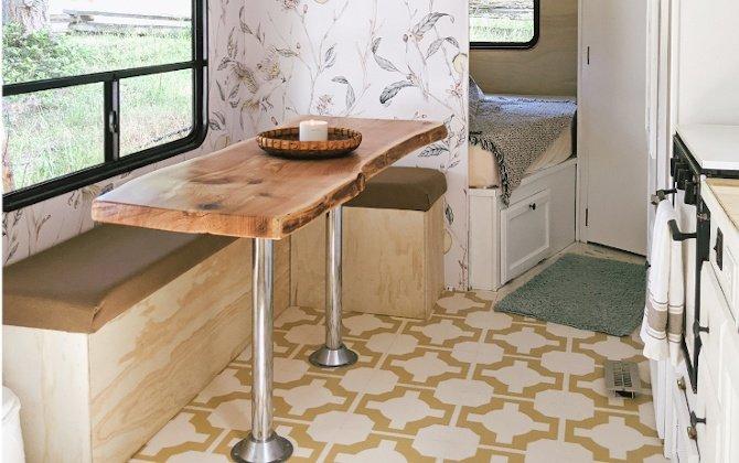 modern trailer renovation using parquet vinyl tiles