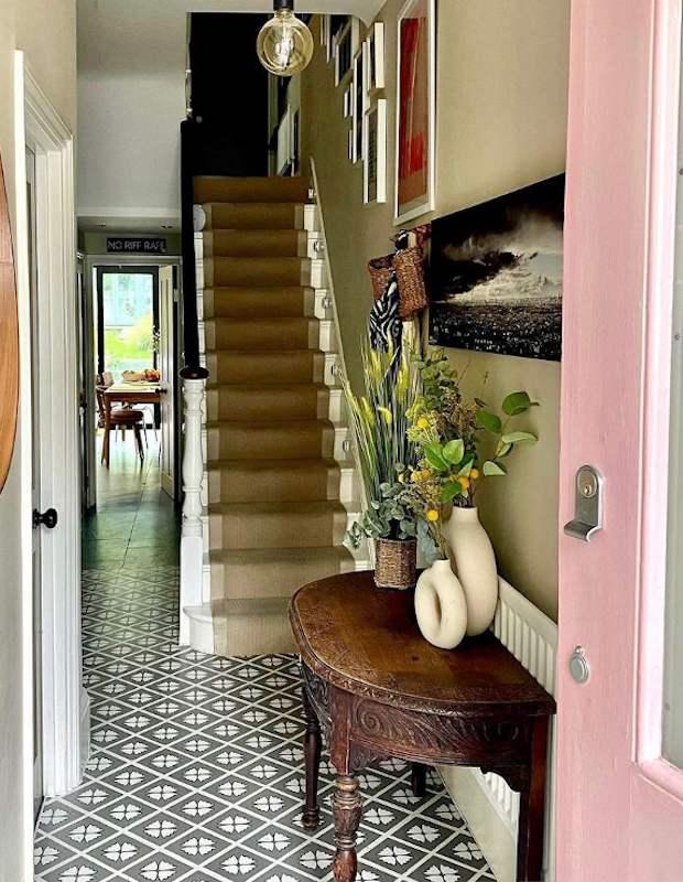 grey decorative tiles in bright hallway