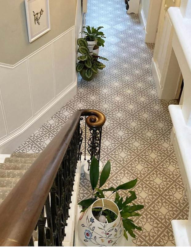 decorative neutral hallway floor tiles in georgian home