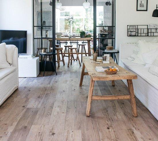 Wood Effect Vinyl Planks in a rustic living room