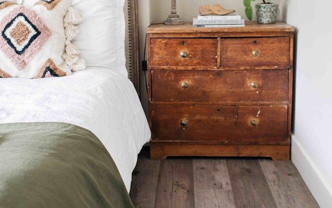 boho bedroom decor with vinyl wood planks