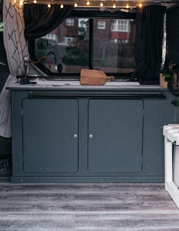 van grey converted kitchen