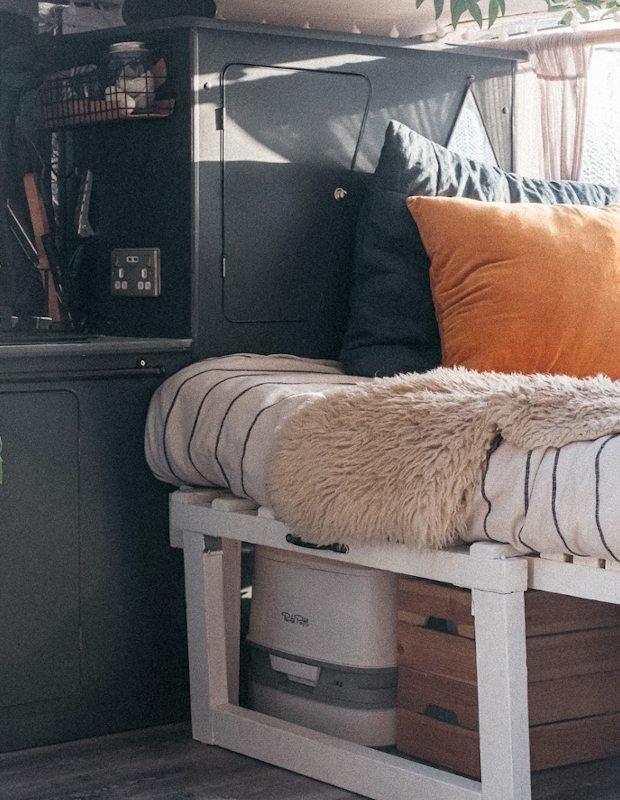 bedroom in a converted van
