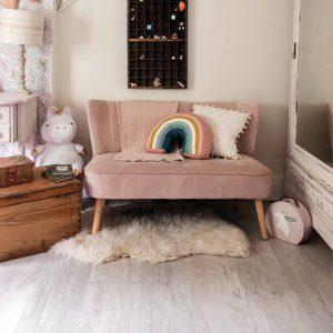 white oak vinyl flooring in pink kids bedroom