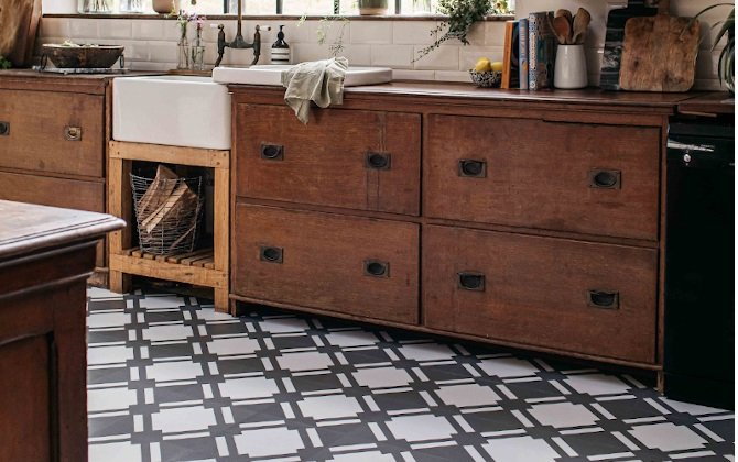 check shadow rustic kitchen tiles