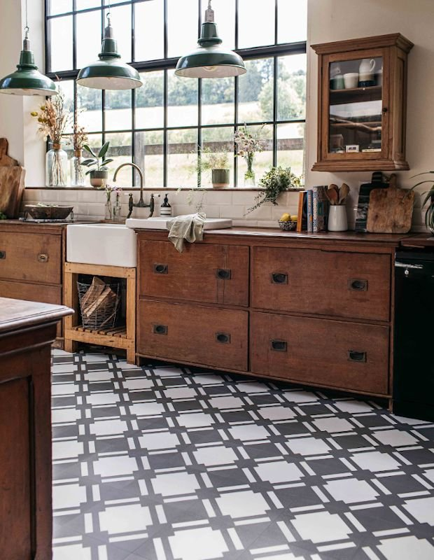 grey and white kitchen tiles in rustic wooden kitchen