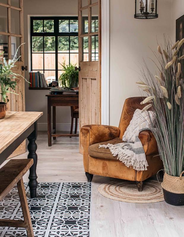 open plan dinign room with floor tiles