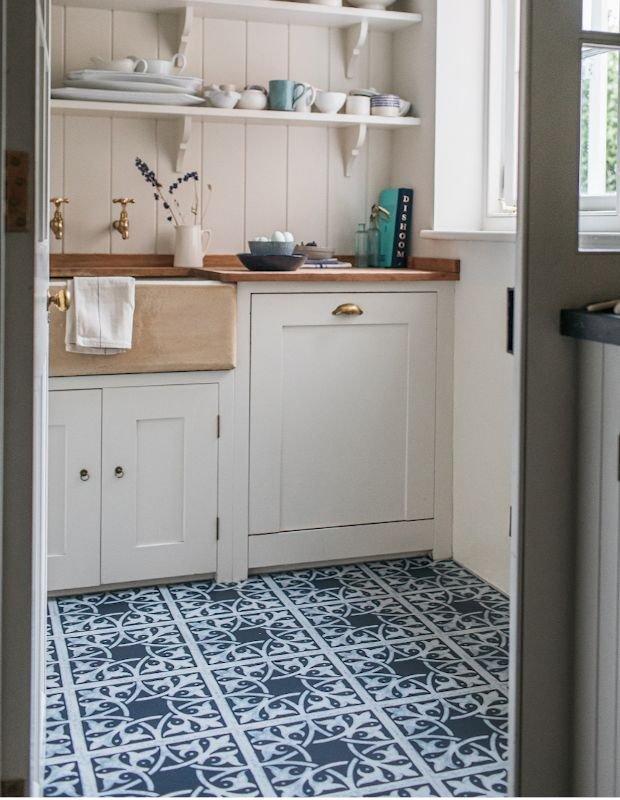 blue floor tiles in a narrow kitchen