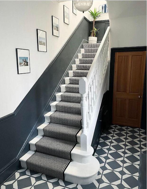 lavastone blue grey flooring in modern hallway