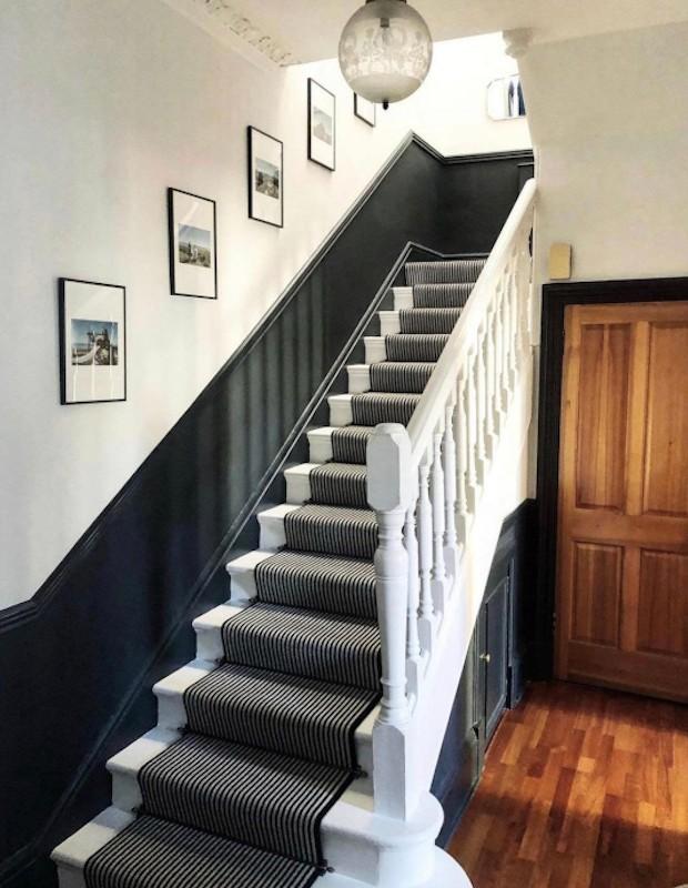 hallway with old wood floor