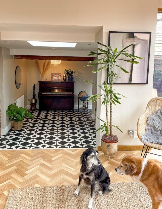 dovetail ink black hallway tiles