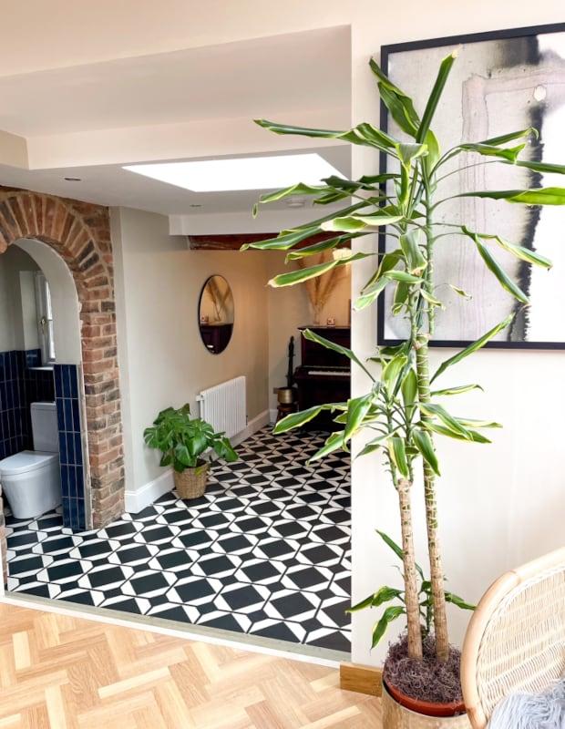 modern monochrome hallway flooring in boho home