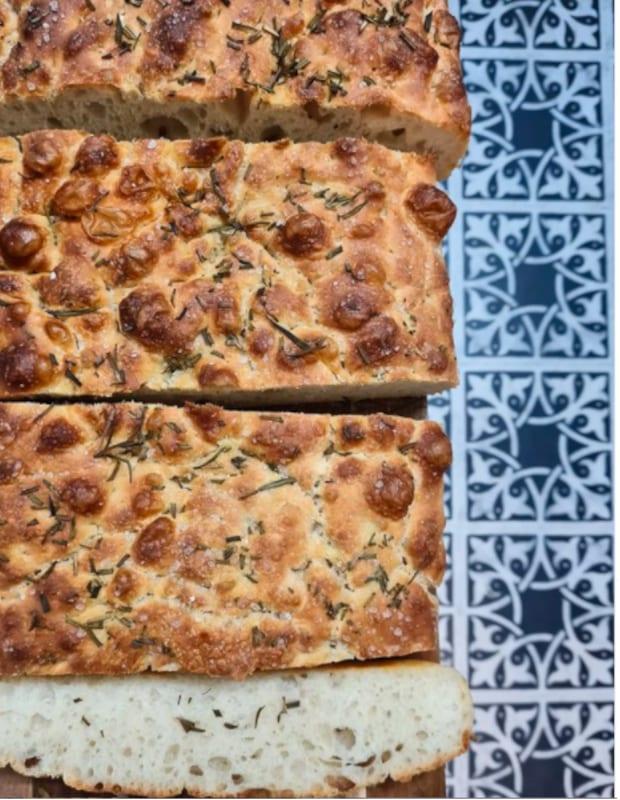 sourdough fresh baked bread and floor tiles