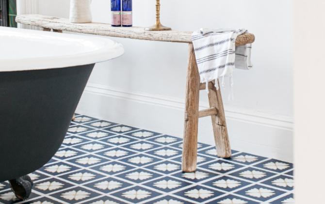 blue colour drench bathroom floor tiles