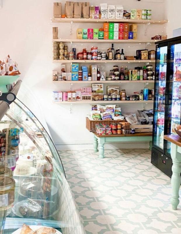 retro cafe flooring and deli counter